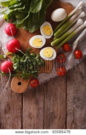 Ingredients For The Salad: Egg, Sorrel, Tomato, Radish