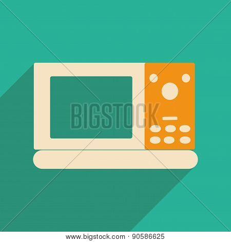 Flat with shadow icon and mobile applacation microwave