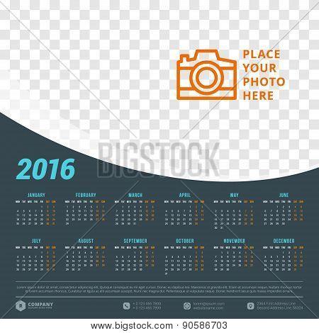 calendar 2016 vector design template week starts monday poster