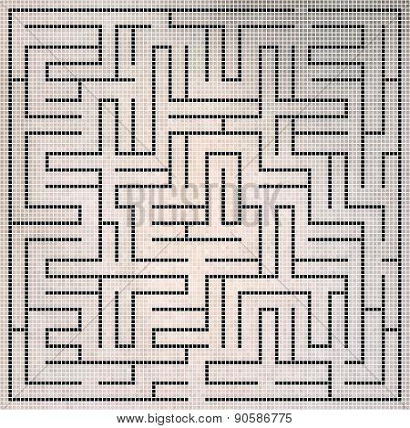 Black Square Maze-mosaic (22X22)