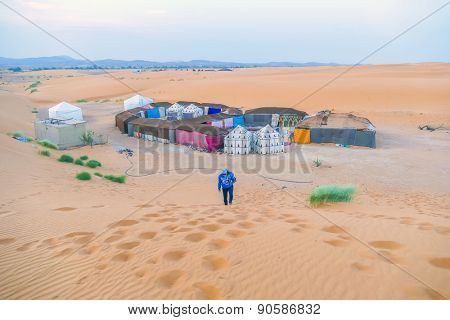 Camp for accommodate tourists during camel trips, Sahara near Merzoga, Morocco