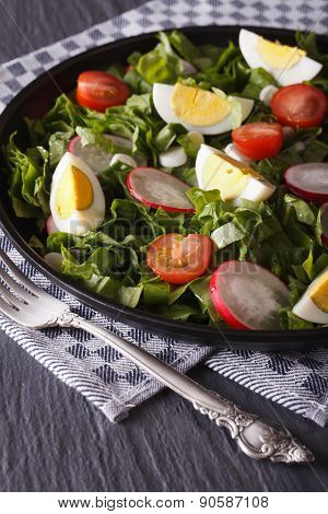 Salad Of Eggs, Radishes And Sorrel Close Up Vertical