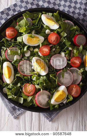 Salad With Eggs, Radishes And Sorrel Closeup. Vertical Top View