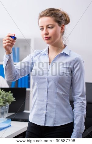 Businesswoman Holding Felt Tip Pen