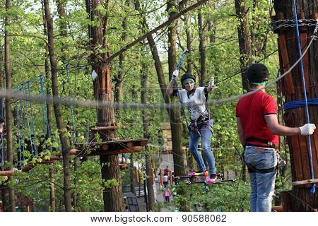 Family On A Rope Climbing