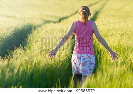 Woman In Barley Field