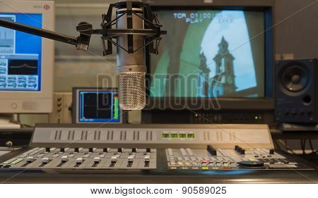 Condenser Microphone In Tv Production Studio Interior