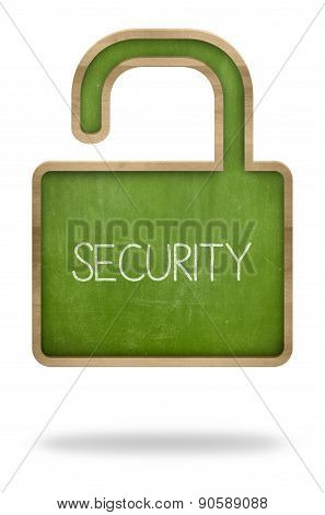 Security concept on padlock shape green blackboard