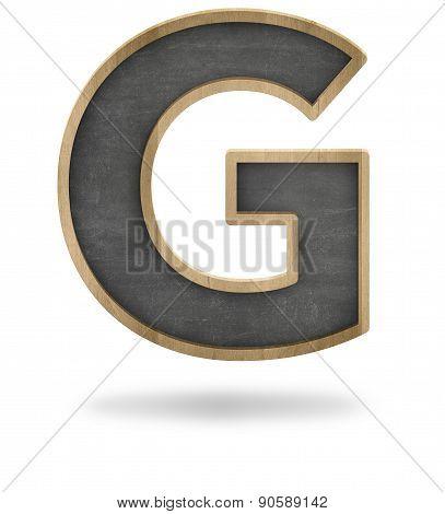 Black blank letter G shape blackboard