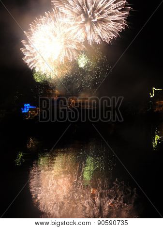 Reflected Fireworks