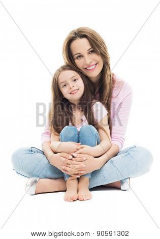 Mother and daughter sitting