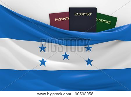 Travel and tourism in Honduras, with assorted passports