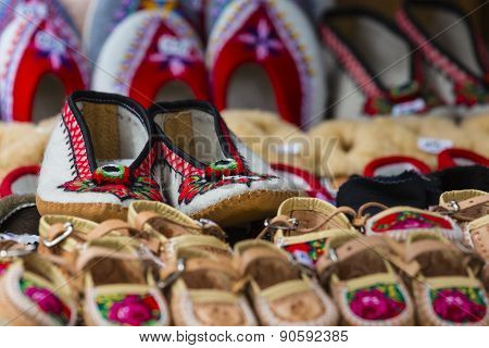 Traditional Polish Leather Mountain Boots For Children Called 'kierpce'