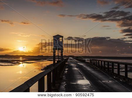 The Causeway to Holy Island. Northumberland. England.