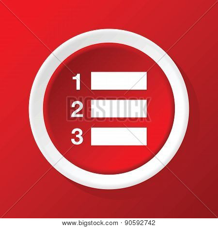 Numbered list icon on red