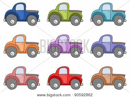 Set Of Colored Cars Isolated On White