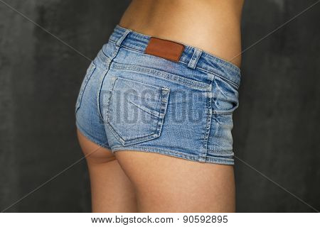 Female body part denim jeans shorts
