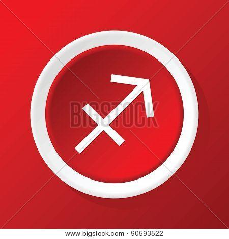 Sagittarius icon on red