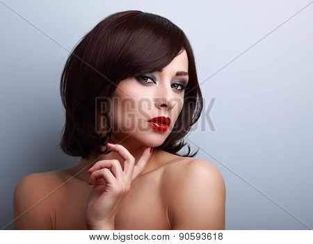 Beautiful Bright Makeup Woman With Red Lipstick And Smoky Eyes