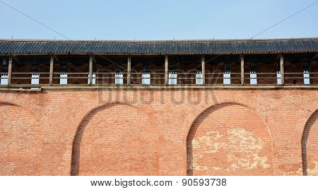 Fortress Wall Of The Ancient Kremlin In Veliky Novgorod