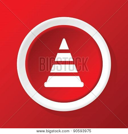 Traffic cone icon on red