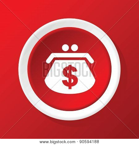 Dollar purse icon on red