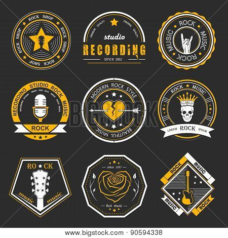 Set Of Vintage Badges Of Rock Music And Rock And Roll