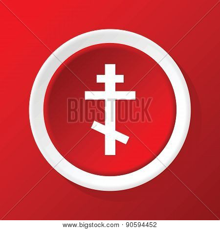 Orthodox cross icon on red