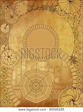 Landscape architectural project on vintage background, garden plan with tree symbol