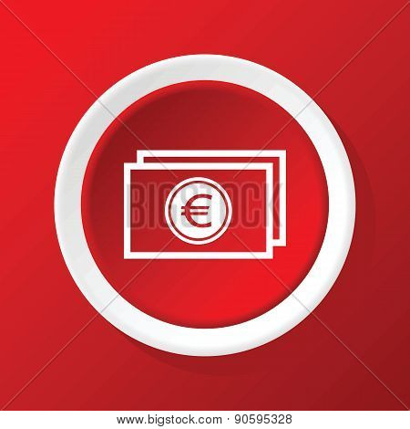 Euro bill icon on red