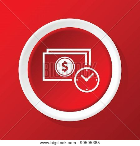 Dollar time icon on red