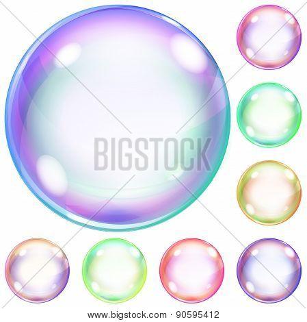 Set Of Colorful Opaque Soap Bubbles