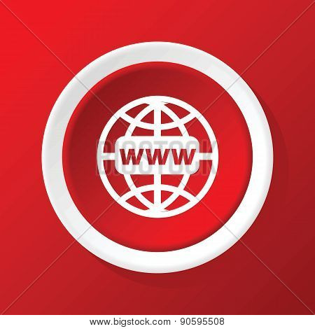 Global network icon on red