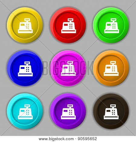 Cash Register Icon Sign. Symbol On Nine Round Colourful Buttons. Vector