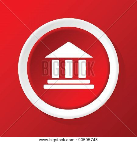 Classical building icon on red