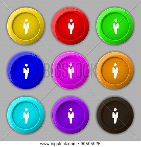 Human, Man Person, Male Toilet Icon Sign. Symbol On Nine Round Colourful Buttons. Vector