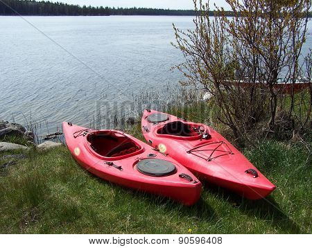 Red kayaks on grassy shore