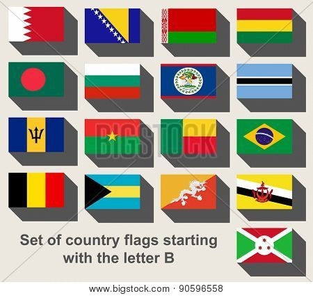 Set of country flags staring with the letter B
