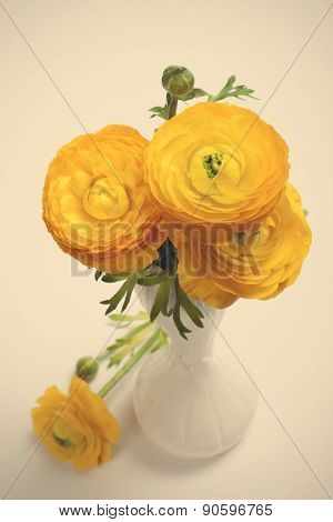 Beautiful spring bouquet of yellow ranunculus