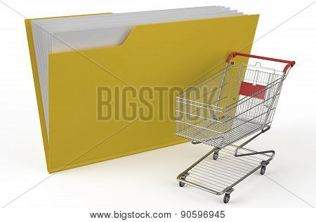 Folder Icon With Shopping Cart