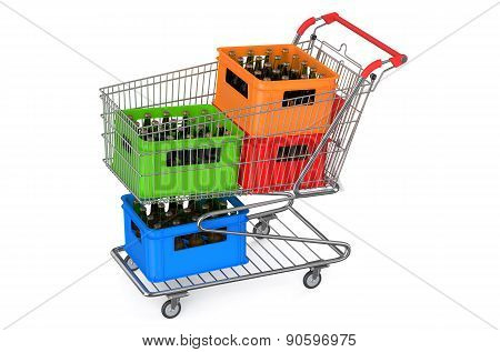 Shopping Cart With Crates Beer