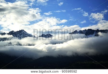 Panorama mountains in clouds