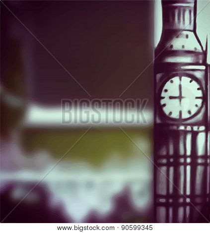 Big Ben Blur Typographic Background Vector Illustration