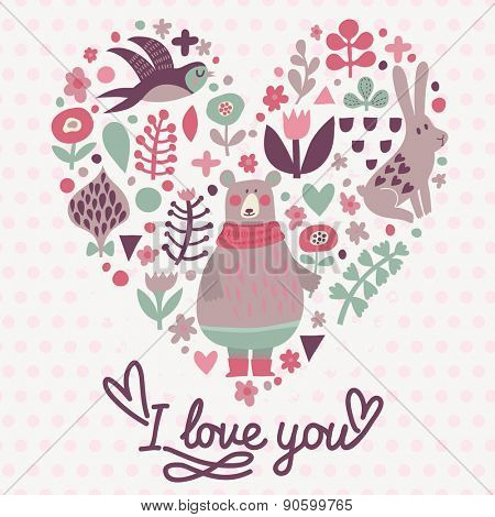 I love you - sweet card in vector. Concept background with birds and animals. Heart made of swallow, rabbit, bear and flowers in lovely colors
