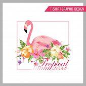 image of flamingo  - Tropical Flamingo Graphic Design  - JPG