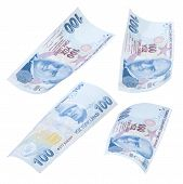 foto of turkish lira  - Flying 100 Turkish Liras on white background - JPG