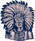 picture of indian chief  - Etching engraving handmade style illustration of a native american indian chief warrior viewed from front set on isolated white background - JPG