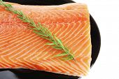 pic of fresh water fish  - raw fresh uncooked salmon red fish fillet on black plate with rosemary twig isolated over white background - JPG