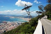 image of gibraltar  - Mountain road with views over the town sea and Spanish coastline Gibraltar United Kingdom Western Europe - JPG