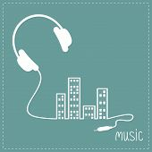 stock photo of cord  - Headphones and cord in shape of equalizer building house with swith on light windows Music background card - JPG